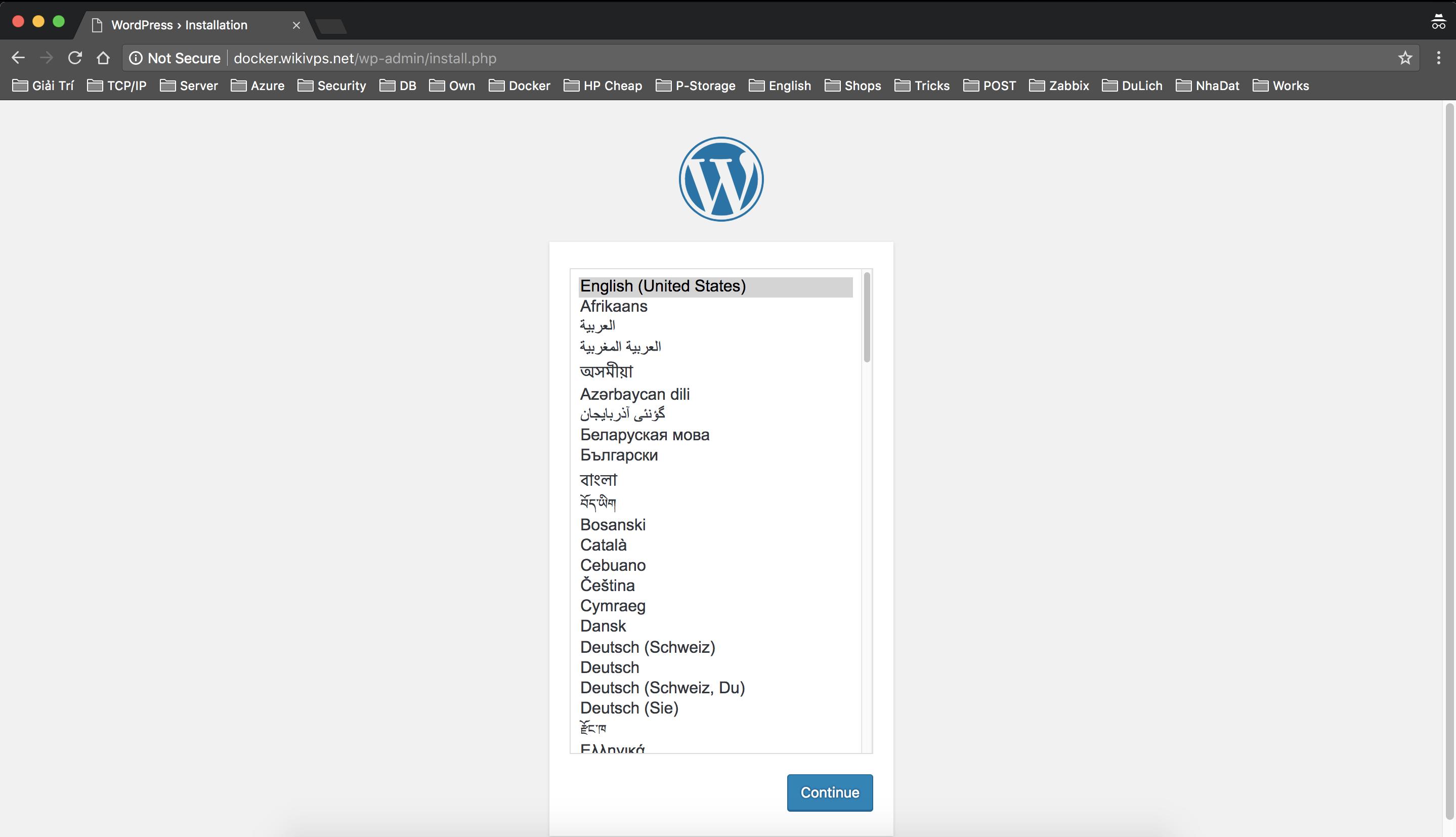 cài đặt wordpress trên docker container bước 1