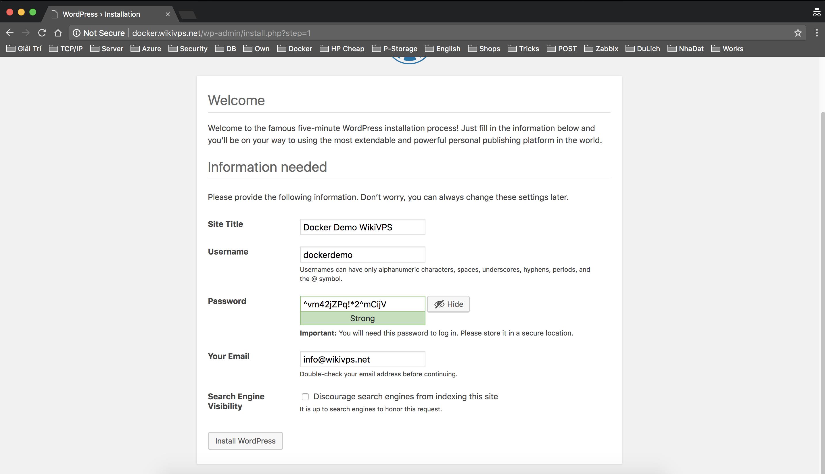 cài đặt wordpress trên docker container bước 2