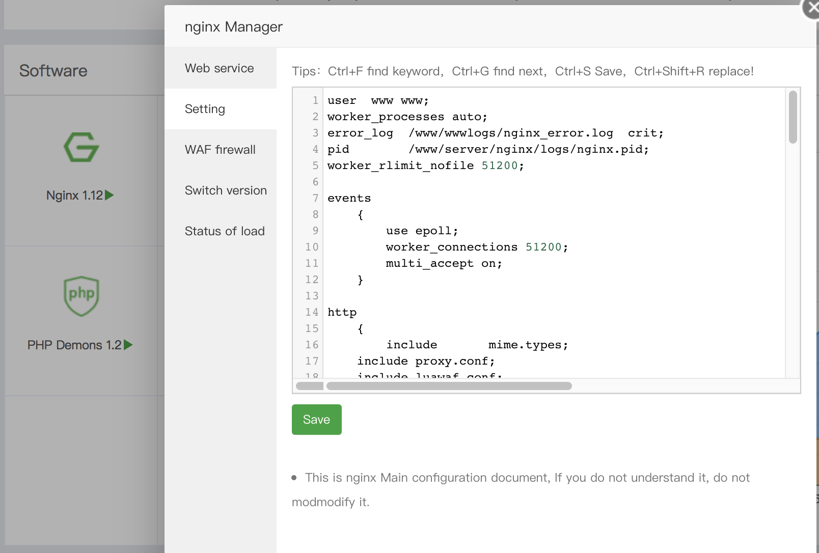 aapanel nginx config file