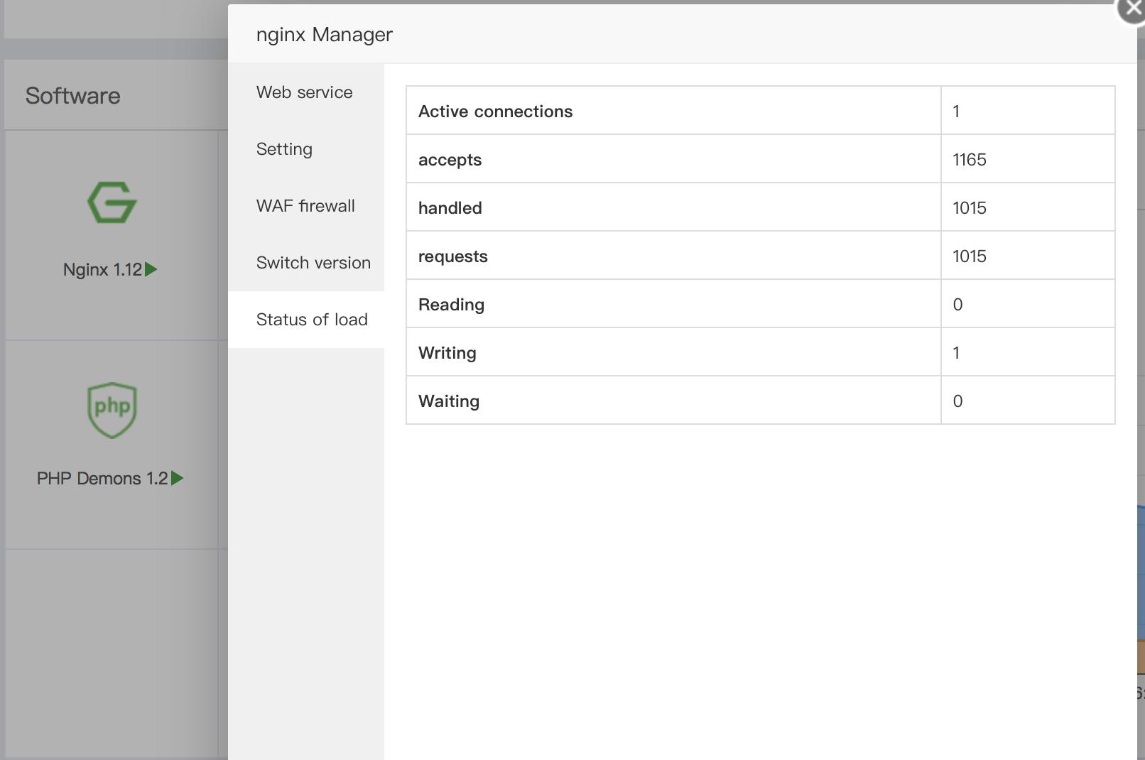 aapanel status of load nginx
