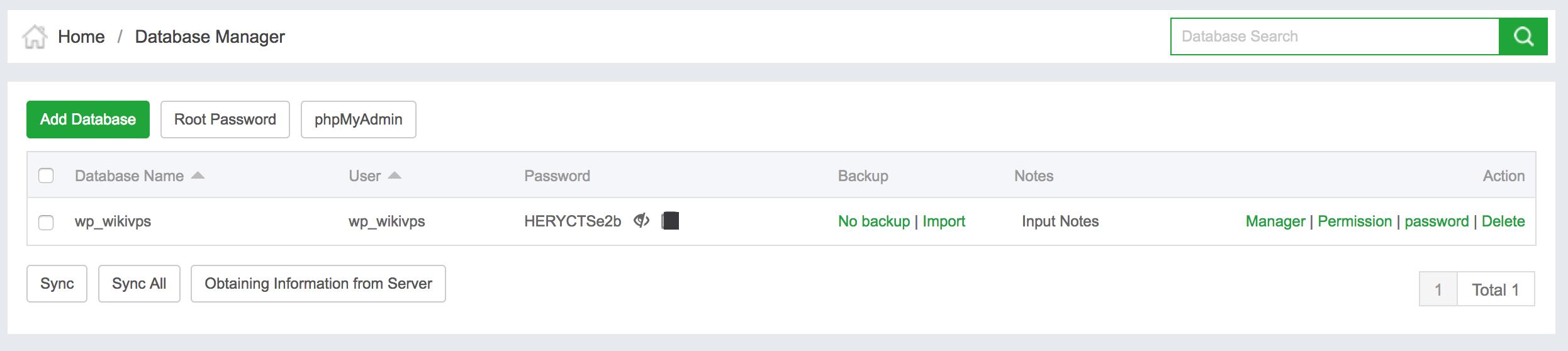 tạo thành công database trên aaPanel