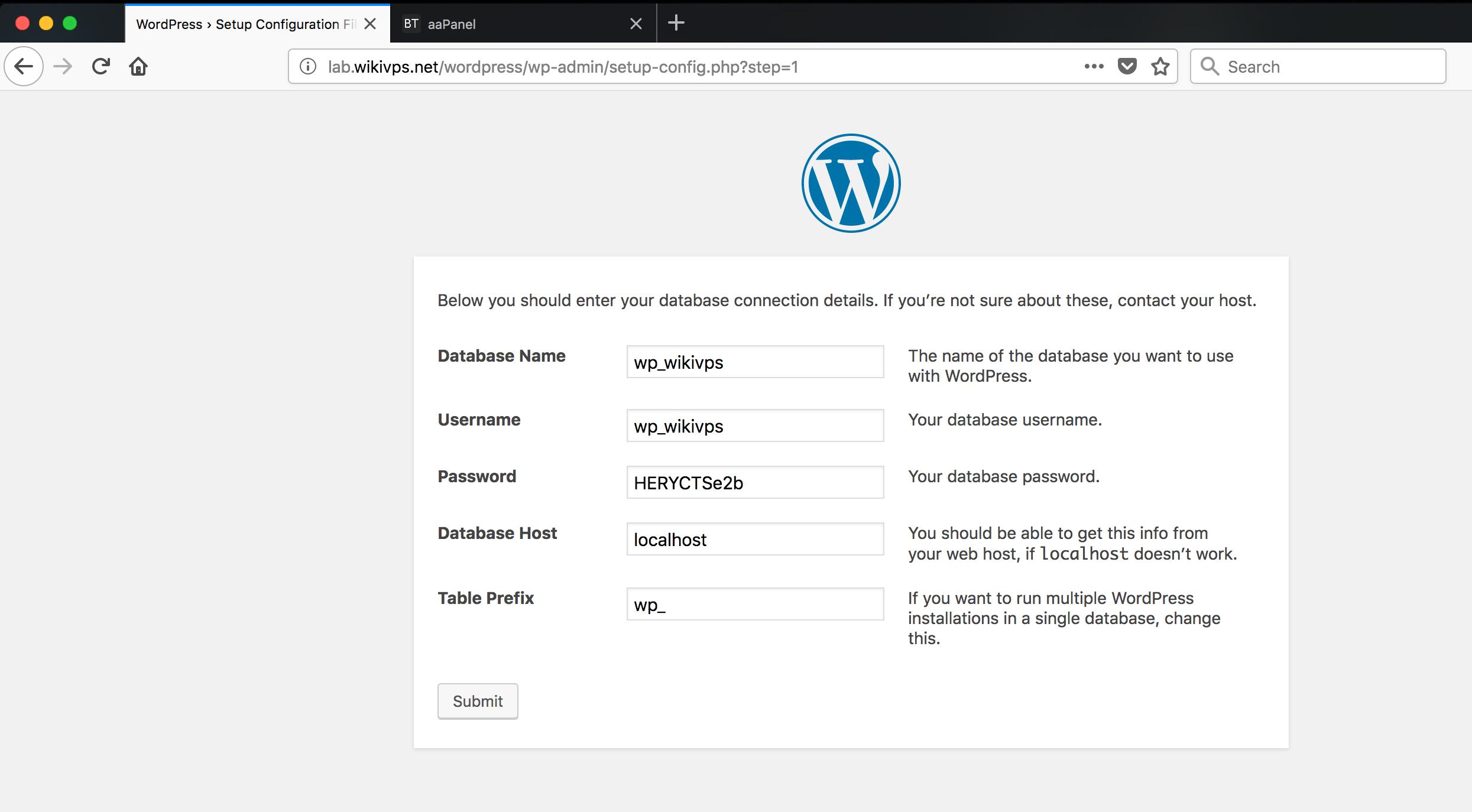 điền thông tin account database để cài đặt wordpress