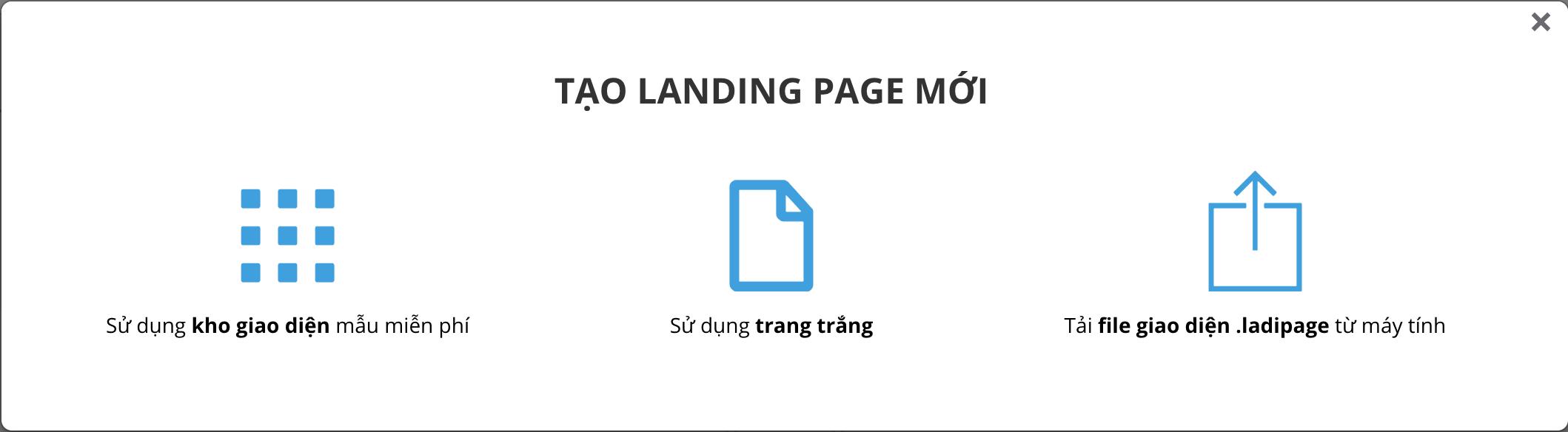 wikivps-chọn loại landing page