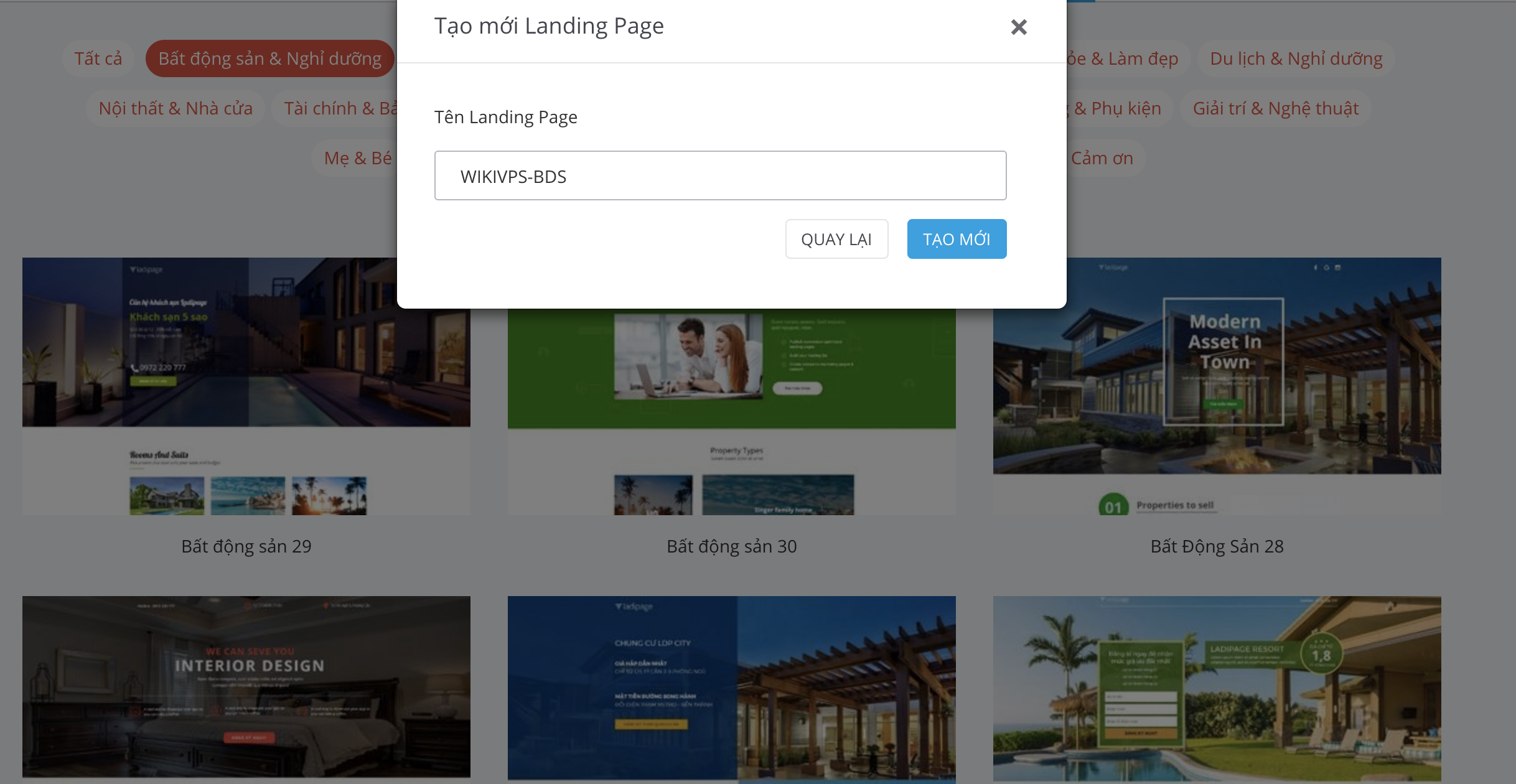 wikivps-khỏi tạo landing page