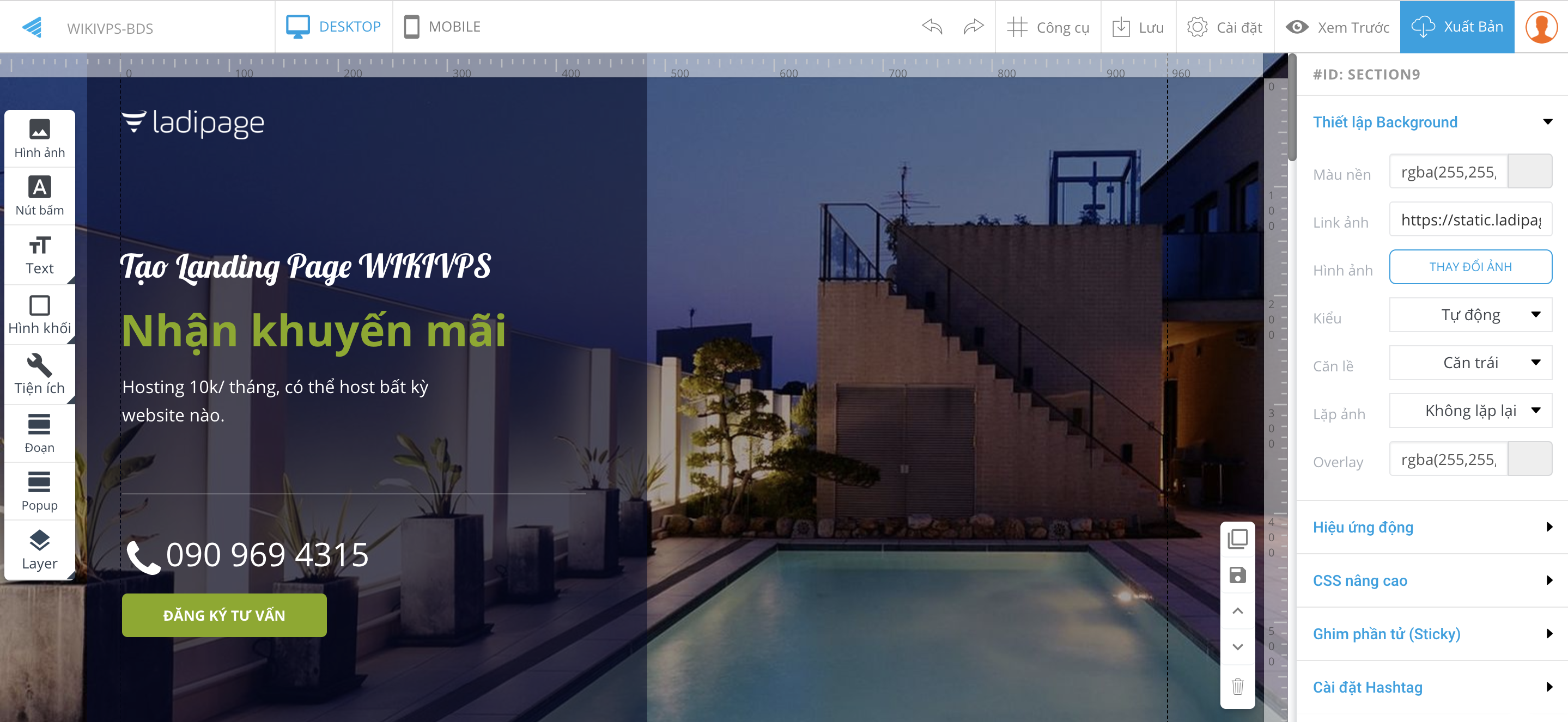 wikivps-edit nội dung landing page