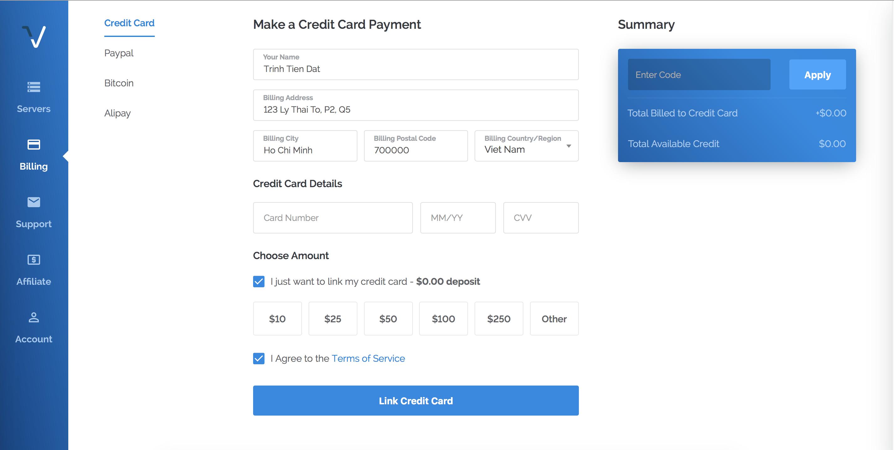 wikivps- Điền thông tin thanh toán