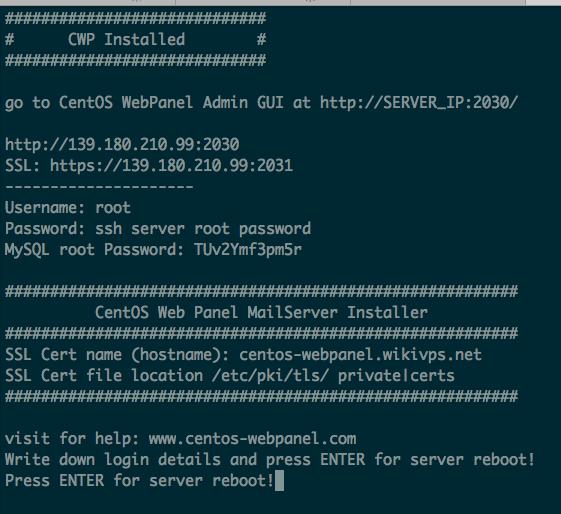 wikivps- cài đặt thành công centos web panel
