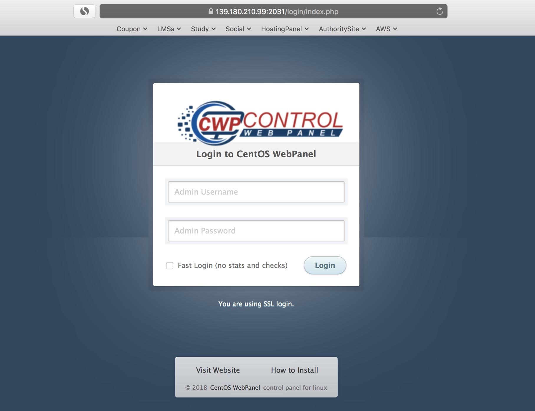 wikivps- màn hình login centos web panel