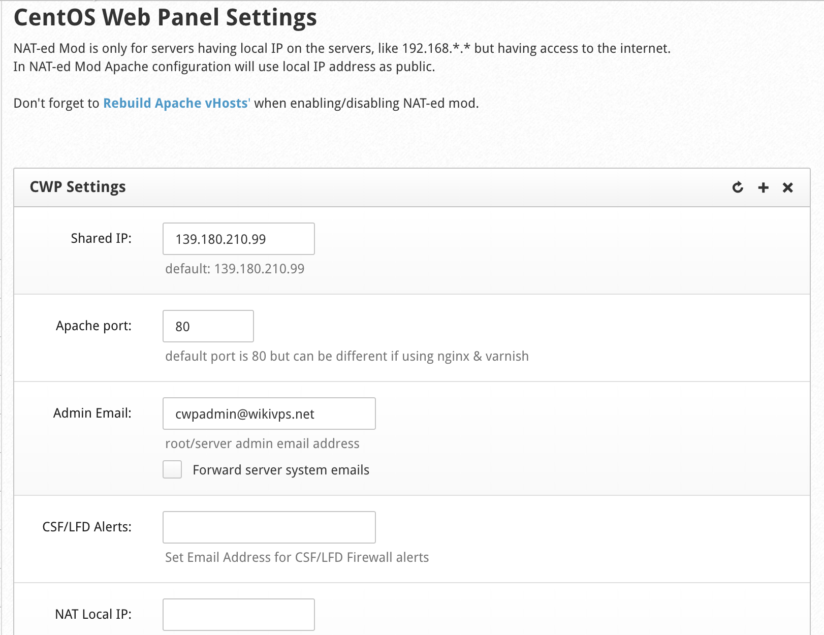 wikivps- set root email