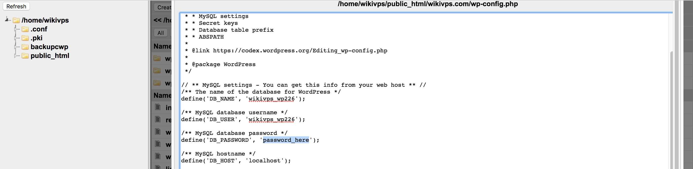 wikivps- check file cấu hình database