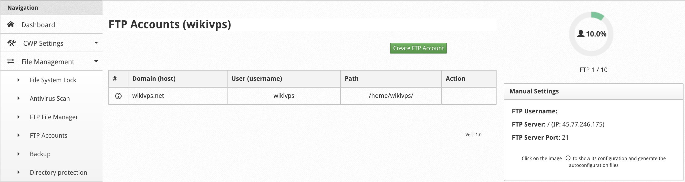 wikivps- đi tới mục tạo ftp account