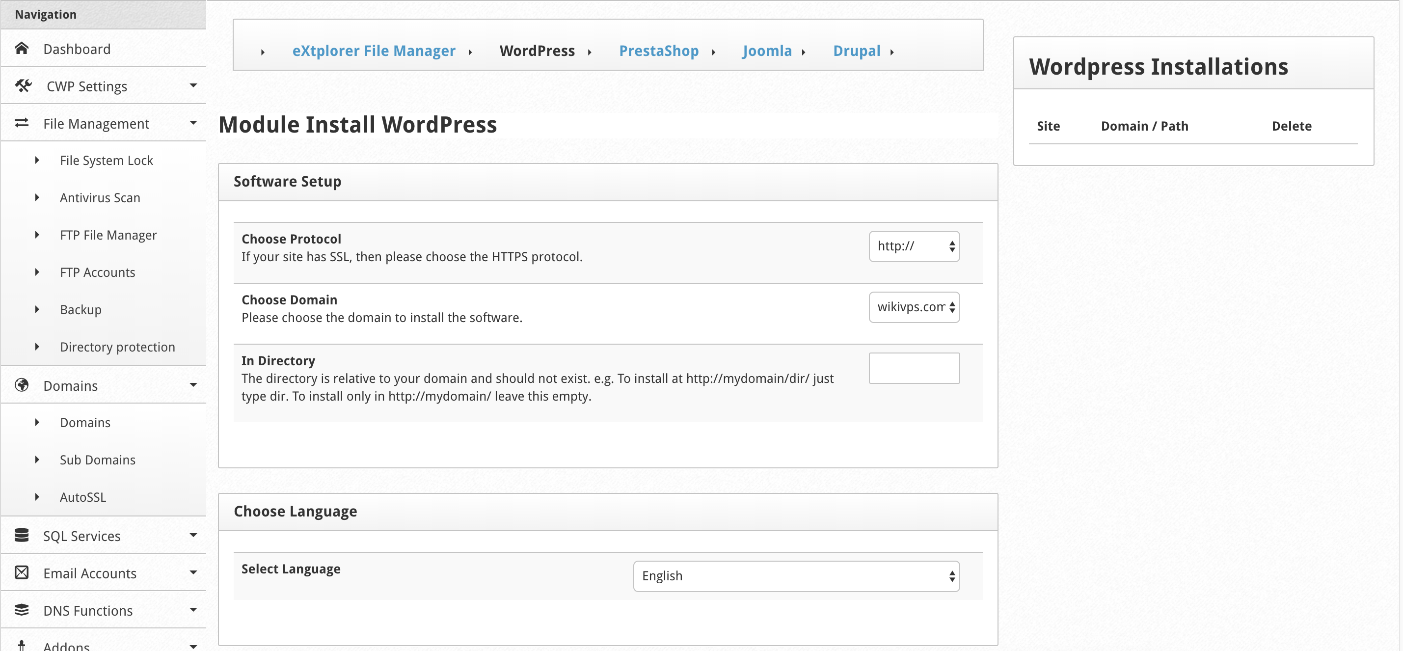 wikivps- cài wordpress