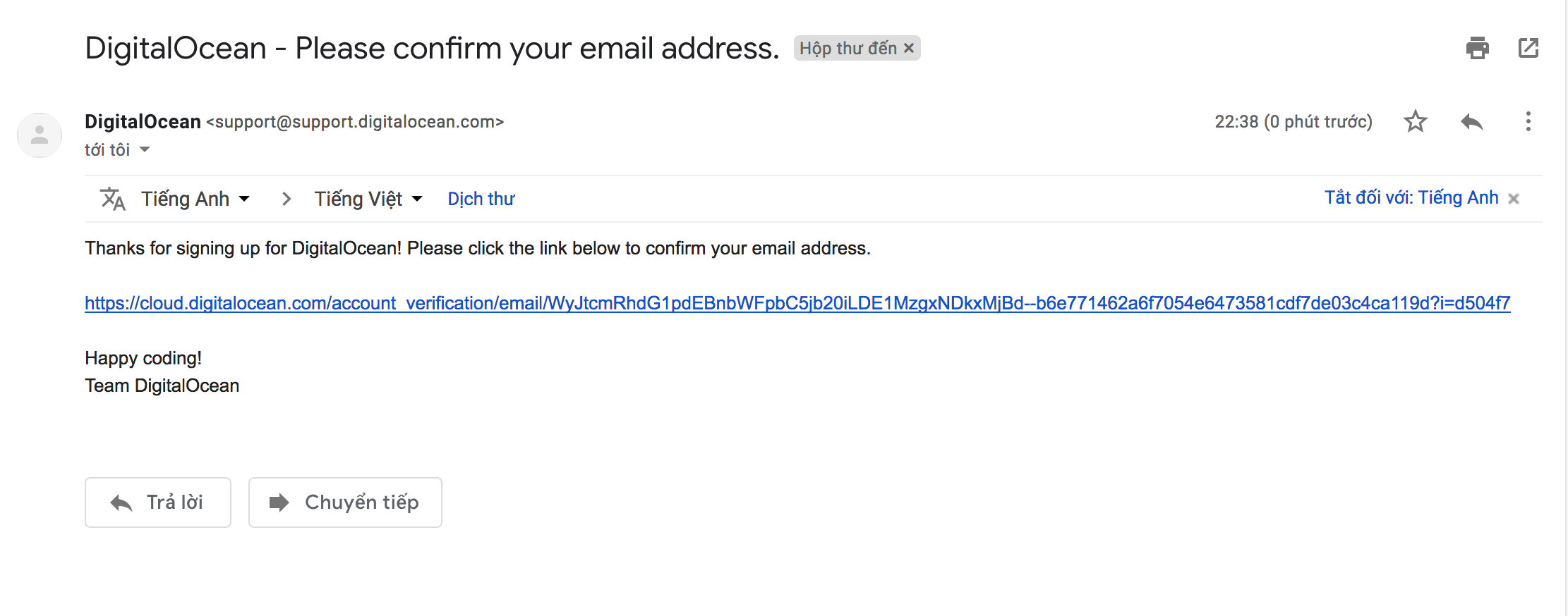 wikivps-email kích hoạt đăng ký digitalocean